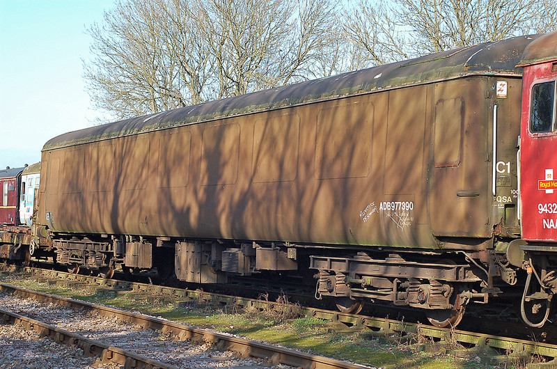 Ex Crewe works test train coach ADB977390 at Dereham. 04 March 2011