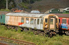 Former high speed track recording generator coach DB977335 is seen derelict at Meldon Quarry August 2010.