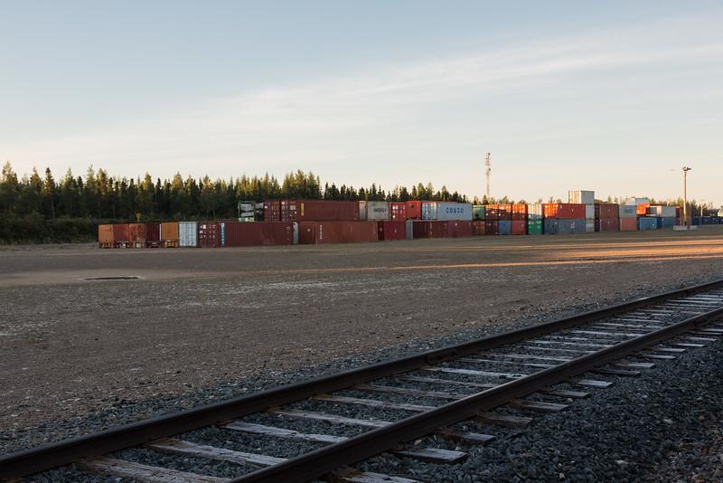 Containers in DeBeers Moosonee yard.