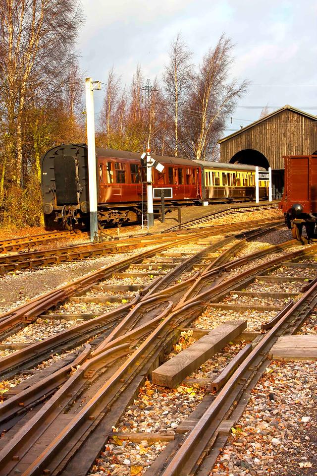 Mixed Gauge Trackwork. 7ft 1/4'' GWR broadgauge and the Standard 4ft 8.5'' gauge track inside.