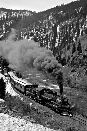 """Somewhere south of Silverton, the tracks are still skirting the Rio de Las Animas Perditas, """"The River of Lost Souls"""" as it has most of the way since Rockwood."""