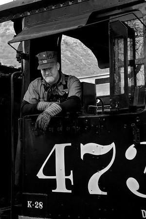 Engineer Bill Colley rests before He'll guide the train out of the Durango Depot.