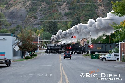 D&SNG #478 (as D&RGW #478) crosses 15th Street on its way to Silverton, 44 miles ahead.