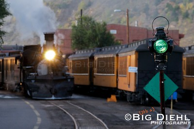 """Morning in the Durango Yard shows 478 """"building air"""" for it's train.  The majority of railroads in the United States use an """"Automatic Air"""" braking system, and the Durango and Silverton is no exception."""