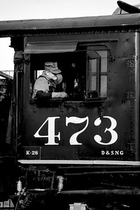Engineer Bill Colley, longtime employee of the Durango & Silverton, takes control of the 473 as he guides her towards her train for the day.