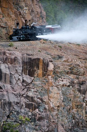 Blow down on the Highline.  This is a regular process of steam railroading, done to keep sediments and other impurities from fouling the boiler of a steam locomotive.