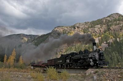 The Silverton Mixed heads Eastward (Southbound) towards Durango.