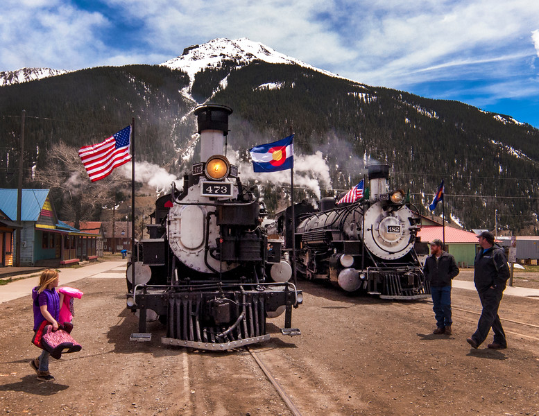 Two locomotives steamed in to Silverton for opening day 2016