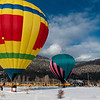 Balloons pause near the D&SNGR's Snowdown Balloon Train 2/4/12.