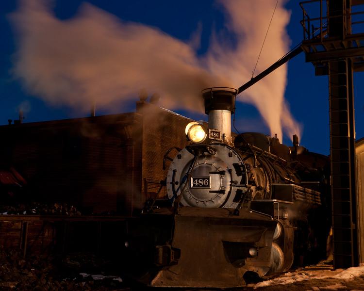 Night at the Durango & Silverton Railroad yard. Feb. 16, 2013