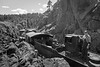 """K37 Locomotive 493 (inoperable) was brought from the Silverton yard to the Durango yard on May 4, 2016. This photo was taken along the famous """"Highline""""."""