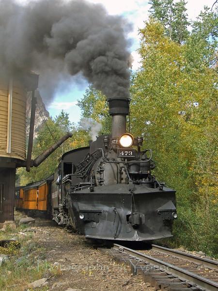 Baldwin K28 locomotive 473 (circa 1923) is posed at Needleton Tank. Fall 2005