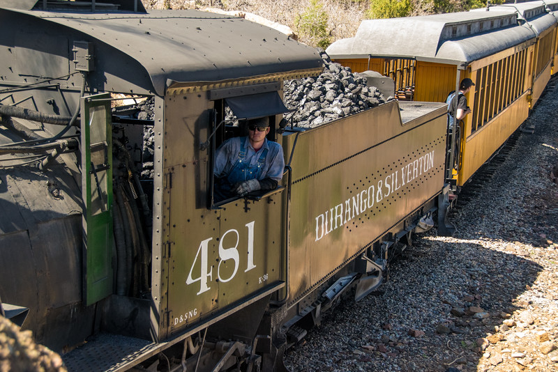 "K37 Locomotive 493 (inoperable) was brought from the Silverton yard to the Durango yard on May 4, 2016. This photo was taken along the famous ""Highline""."