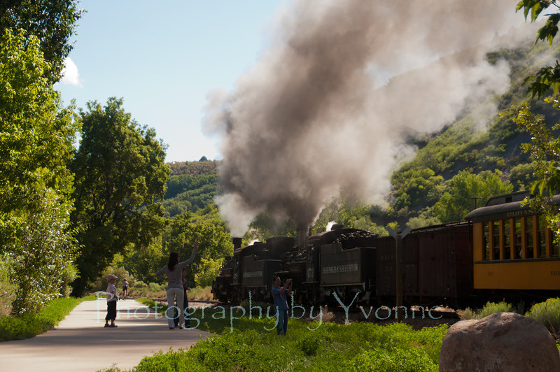 A double-header (2 locomotives) heads northbound along the Animas River Trail. July 2012