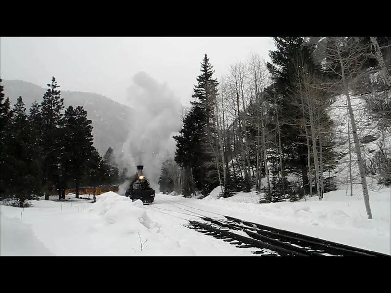 Winter Train leaves the Cascade Canyon Wye. Feb 2013