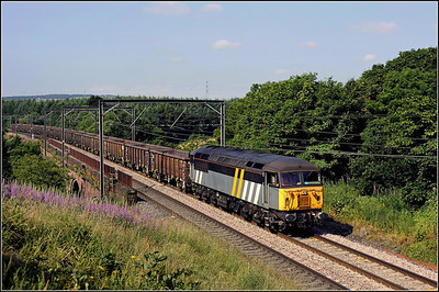 2013 07 19 56301 York Holgate-Butterwell empty box wagons passing Relly Mill Viaduct.