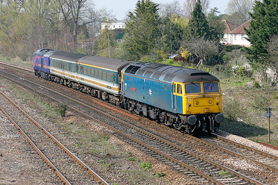47840 'North Star' passes 40 Steps, Taunton heading 5F70 Laira Depot to Old Oak Common Depot conveying 43010 with barrier coaches 6427 & 9488. 2nd April 2007.
