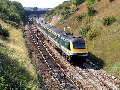An HST in the original First Great Western livery departs from Bristol Parkway on a Paddington service. 4th September 2001.