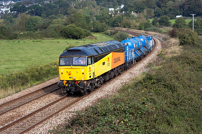47749 'Demelza' heads the 3S11 RHTT from Newton Abbot to Par past Lanford Bridge shortly after passing Aller Junction. Sunday 7th October 2007.