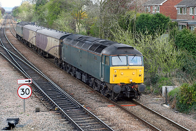 47811 & 47830 top & tail two Porterbrook barrier coaches pass Water Orton running as 5Z50 10.38 Bedford to Crewe. 9th April 2005.