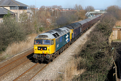 47847 & 47839 'Pegasus' pass worle Parkway with 5Z47 10.32 Derby to Bishops Lydeard railtour. 10th March 2007.