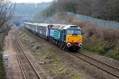 47501 emerges from Patchway Tunnel and passes Cattybrook heading the short lived Stobart Pullman, running as 1Z47 06.52 Paddington to Shrewsbury via Hereford. 47712 is dead on the rear. 28th February 2008.