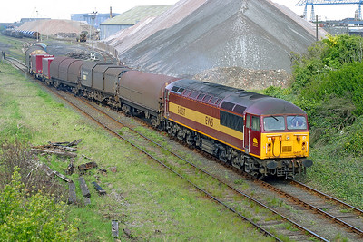 56037 departs from Middlesborough Goods with 6N31 to Tees Yard covered steel carriers. 15th May 2003.