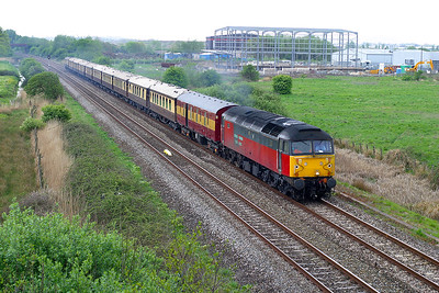47791 heads the VSOE from Okehampton to London Victoria past Hutton Moor on the Weston-super-Mare avoiding line. 27th April 2003.