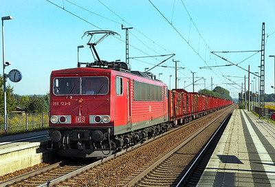 155 123 brings a westbound loaded log train through Jacobsdorf (Mark). 23rd September 2010.