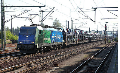 PKP Cargo EU43-002 heads a long car train westbound through Furstenwalde (Spree). 23rd September 2010.