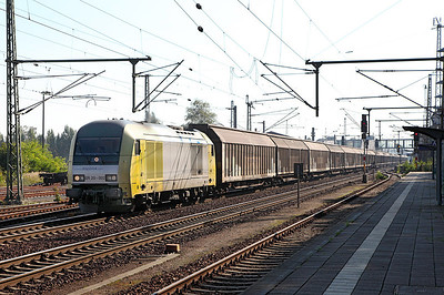 Siemens EuroRunner MRCE Dispolok ER20-002 heads a long train of vans westbound through Furstenwalde (Spree). 23rd September 2010.