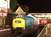 6940/37240 stands at Llangollen on a demonstration freight during the EMRPS charter on a wet and windy evening.<br /> 8/2/2014