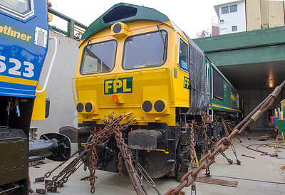 Freightliner Poland Class 66 EU05 in the hold of Jumboship 'Fairload' at Newport Docks for onward shipment to Holland. 6th February 2007.