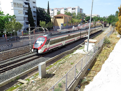 RENFE Alstom Coradia Class 464 4 car EMU 201 departs from Benalmadena-Arroyo de la Miel on a service from Málaga Centro-Alameda to Fuengirola. Wednesday 17th August 2016.