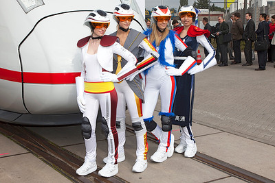 Velaro D High Speed Girls. Dressed in the colours of the countries that had ordered the train. Spain; Germany; Russia & China. Innotrans September 2010. Eurostar ordered the train after the show.