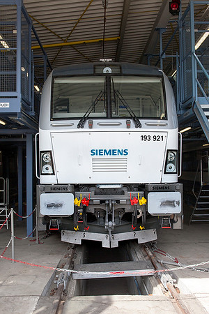 Siemens Vectron demonstrator with early style front access door 193 921, Wegberg-Wildenrath. 1st July 2010.