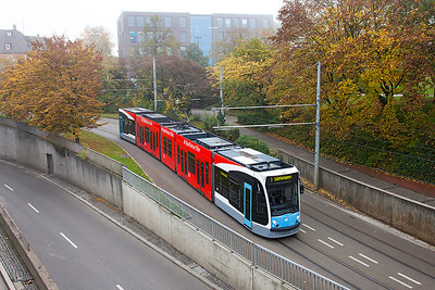 Siemens Combino tram No. 45 on route 1 passes under Ulm station. 28th October 2010.