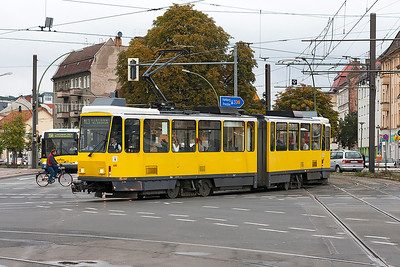 A tram on route M13 changes direction at a major junction in the north of Berlin. 23rd September 2008.