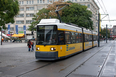 A 1998 ADtranz GT6N 3-car articulated tram, 1069 passes the rear of Alexanderplatz station, Berlin on a M6 service. 23rd September 2008.