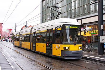 A 1999 Bombardier GT6NZR 3-car articulated tram 2017 waits to depart from the terminus at Alexanderplatz, Berlin on an M2 service to Heinersdorf. 23rd September 2008.