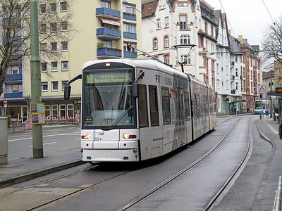 Frankfurt Bombardier Flexity Classic tram 259 heads along Battonstraße forming an 18 Route service to Preungesheim. Monday 18th December 2017.