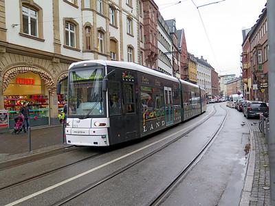 Frankfurt Bombardier Flexity Classic tram 252 heads along Braubachstraße forming an 11 Route service to Höchst Zuckschwerdtstraße. Monday 18th December 2017.