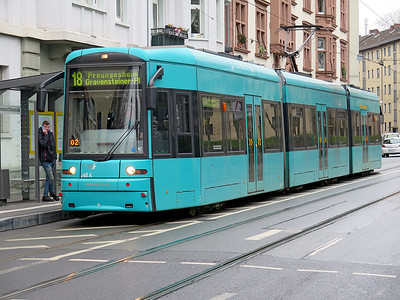 Frankfurt Bombardier Flexity Classic tram 248 at a stop opoosite the Old Jewish Cemetry in Battonstraße, forming an 18 Route service to Preungesheim. Monday 18th December 2017.