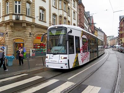 Frankfurt Bombardier Flexity Classic tram 229 heads along Braubachstraße forming an 11 Route service to Höchst Zuckschwerdtstraße. Monday 18th December 2017.