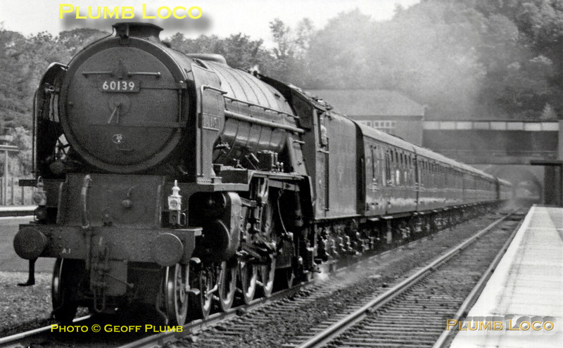 "Peppercorn A1 Class 4-6-2 No. 60139 ""Sea Eagle"" roars through Hadley Wood station with a northbound express from King's Cross on Saturday 4th August 1962. The engine is allocated to 36A, Doncaster MPD. B&W Neg No. 114."