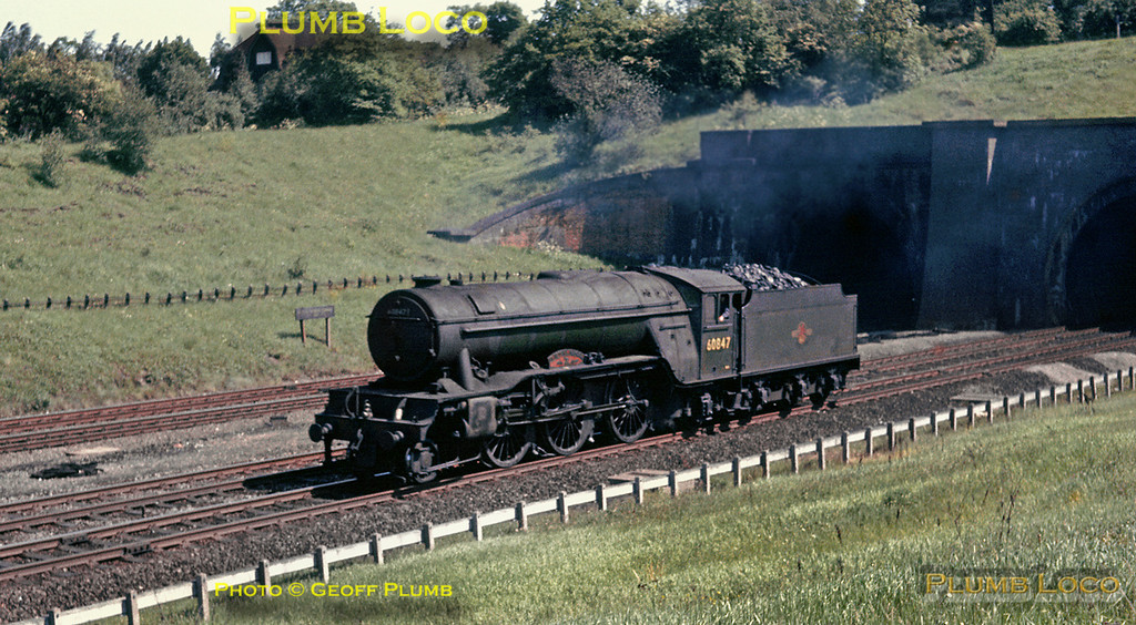 """LNER V2 2-6-2 No. 60847 """"St. Peter's School, York, AD 627"""" works northbound light engine out of Hadley North Tunnel. It was possibly on its way from King's Cross engine shed to New England shed at Peterborough, as this was during the last couple of weeks of regular steam operation south of Peterborough. Saturday 1st June 1963. Slide No. 74."""