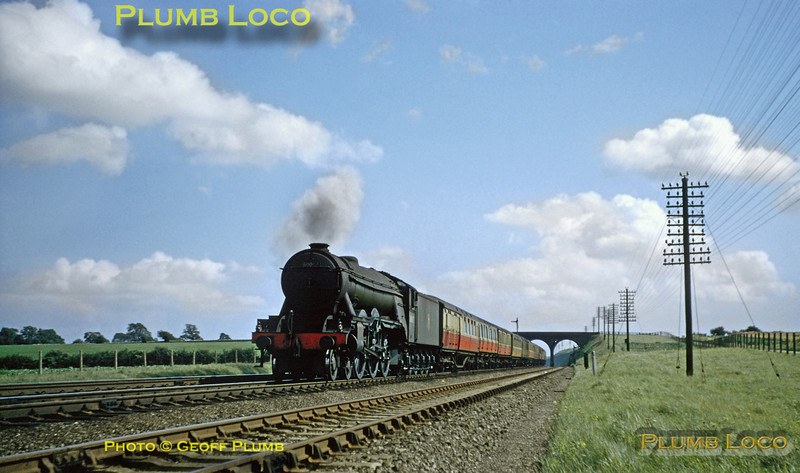 """From the Geoff Plumb Collection of original slides. LNER A3 Class 4-6-2 No. 60067 """"Ladas"""" with a down express from King's Cross just north of Essendine on the lovely summer afternoon of 11th August 1956. Photo by D.E. White. Collect Slide No. 29306."""