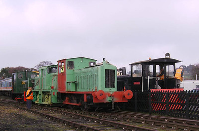 All four of the working shunters at Warcop in one shot! From left to right: Hunslet 2389/1941, Thomas Hill 130c/1963, Drewry Cars 2181/1945 and Darlington (RSH8343/1962).
