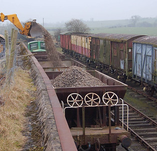 Loading of the dogfish with ballast is facilitated by use of the blast wall, as seen here on 11th February 2012.