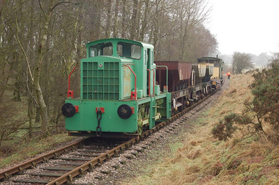 The Vanguard (TH 130c/1963) at Sandford Mire with the ballast train on 12th February 2012.
